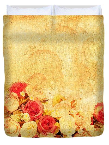 Retro Flower Pattern Duvet Cover by Setsiri Silapasuwanchai