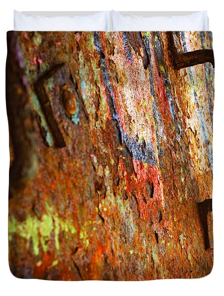 Rust Background Duvet Cover by Carlos Caetano