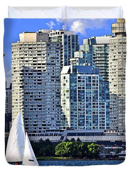Sailing in Toronto harbor Duvet Cover by Elena Elisseeva