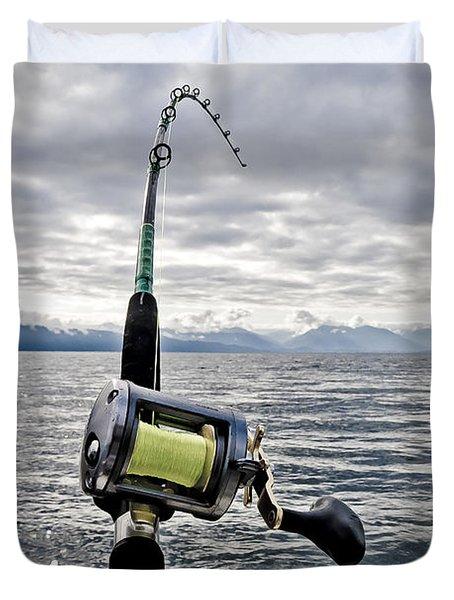 Salmon Fishing Rod Duvet Cover by Darcy Michaelchuk
