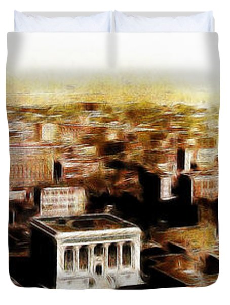San Francisco Skyline Panorama 1909 From The Ferry Building Through South of Market Duvet Cover by Wingsdomain Art and Photography