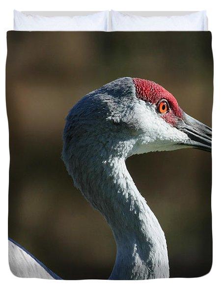 Sandhill Crane Profile Duvet Cover by Carol Groenen