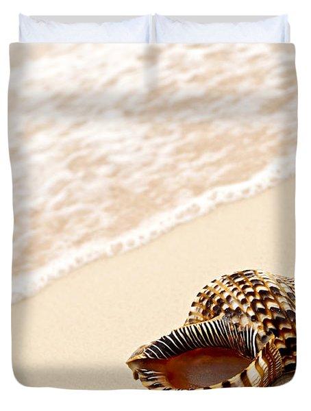 Seashell And Ocean Wave Duvet Cover by Elena Elisseeva