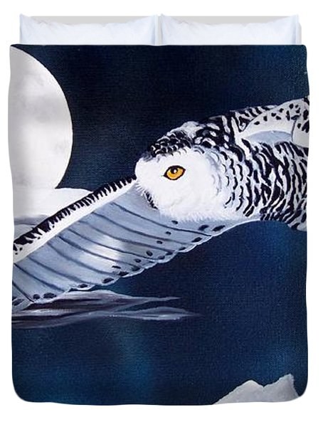 Snowy Flight Duvet Cover by Debbie LaFrance