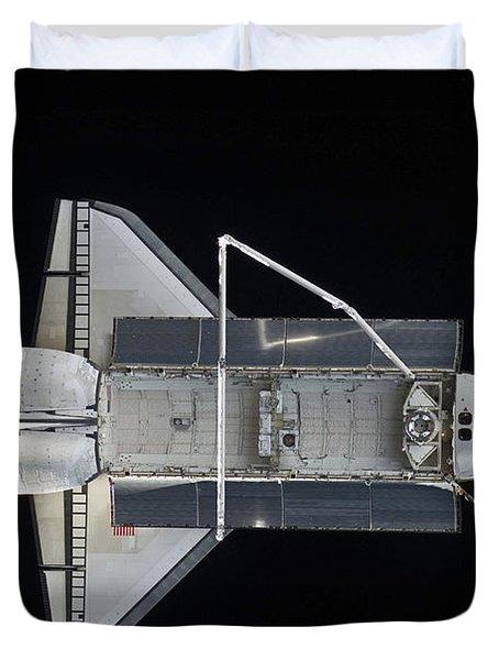 Space Shuttle Atlantis Backdropped Duvet Cover by Stocktrek Images