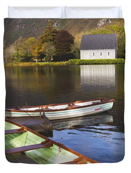 St. Finbarres Oratory And Rowing Boats Duvet Cover by Ken Welsh
