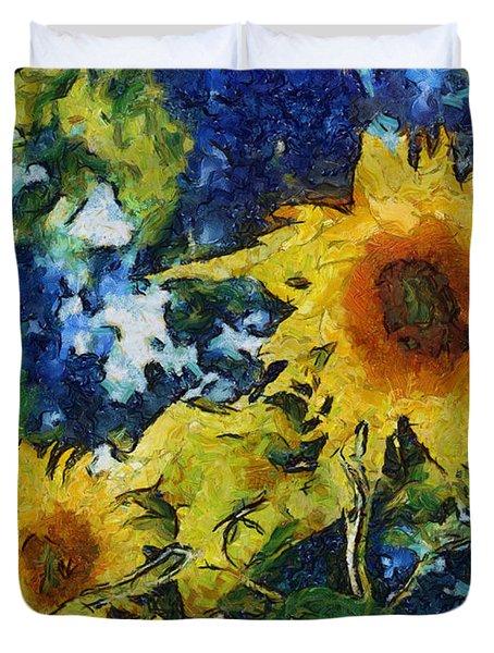 Sunflowers Duvet Cover by Michelle Calkins
