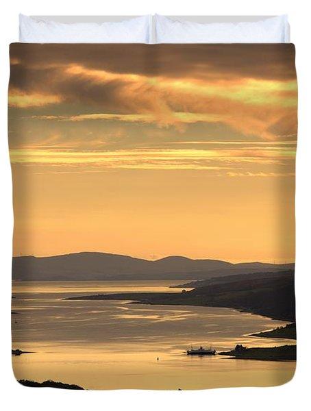 Sunset Over Water, Argyll And Bute Duvet Cover by John Short