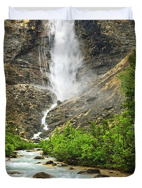 Takakkaw Falls Waterfall In Yoho National Park Canada Duvet Cover by Elena Elisseeva