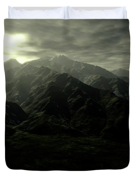 Terragen Render Of Mt. Whitney Duvet Cover by Rhys Taylor