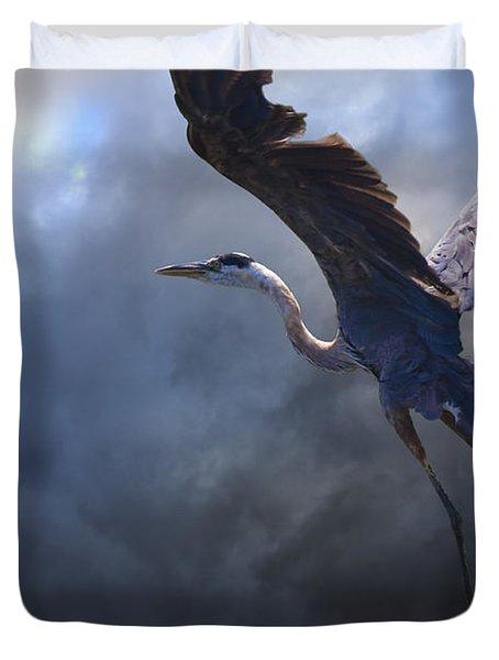 The Flight Of Titans Duvet Cover by Ron Jones