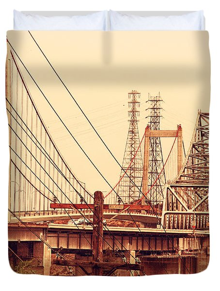The Two Carquinez Bridges At Crockett And Vallejo California . Aka Alfred Zampa Memorial Bridge . 7d8919 Duvet Cover by Wingsdomain Art and Photography