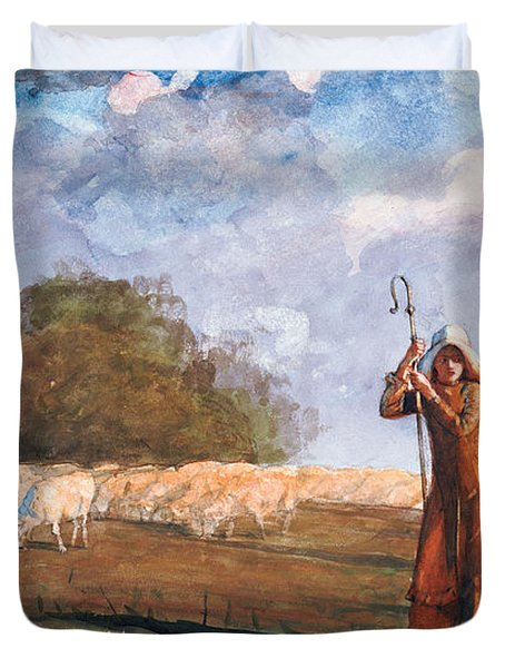 The Young Shepherdess Duvet Cover by Winslow Homer