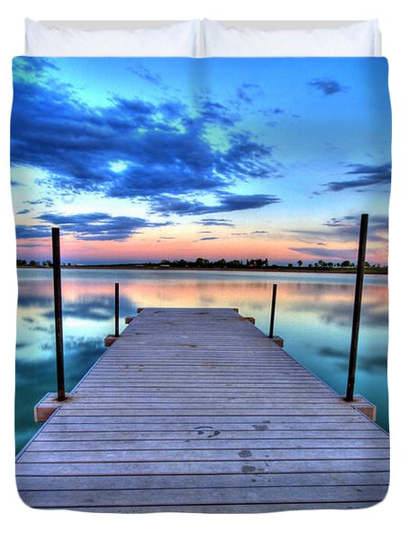 Tranquil Dock Duvet Cover by Scott Mahon
