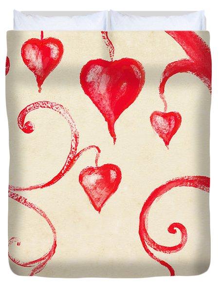 Tree Of Heart Painting On Paper Duvet Cover by Setsiri Silapasuwanchai