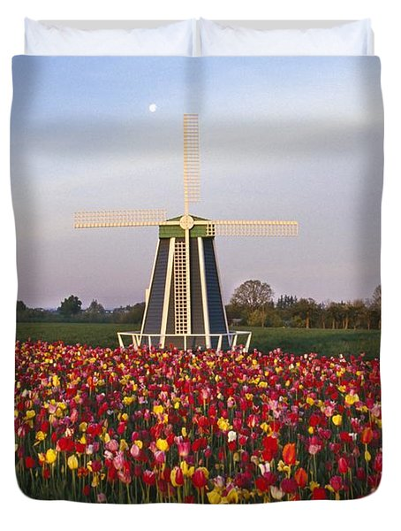 Tulip Field And Windmill Duvet Cover by Natural Selection Craig Tuttle