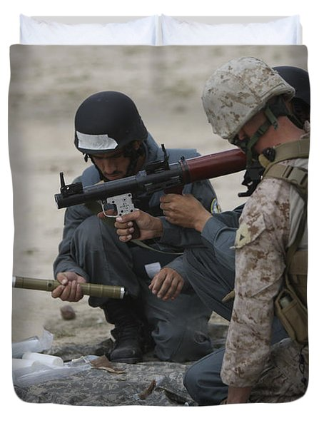 U.s. Marine Watches An Afghan Police Duvet Cover by Terry Moore