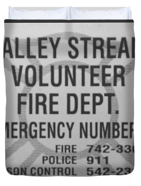 VALLEY STREAM FIRE DEPARTMENT in BLACK AND WHITE Duvet Cover by ROB HANS