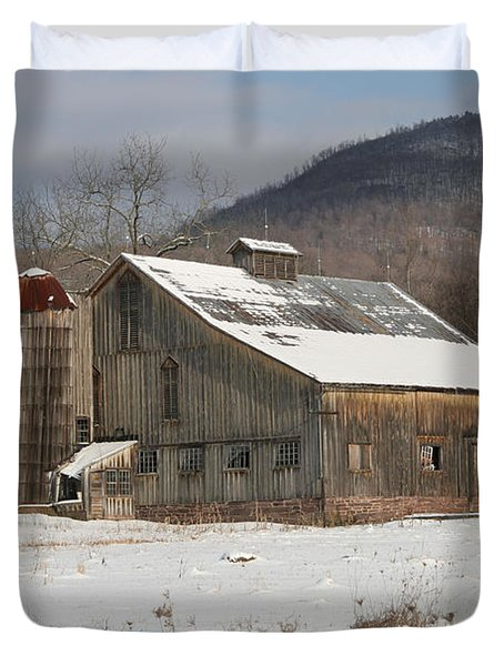 Vintage Weathered Wooden Barn Duvet Cover by John Stephens