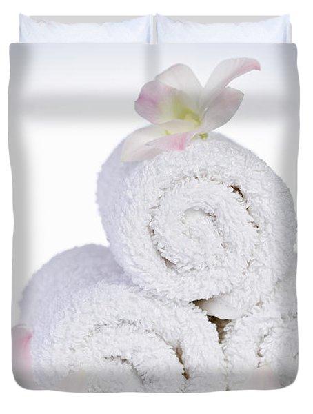 White spa Duvet Cover by Elena Elisseeva