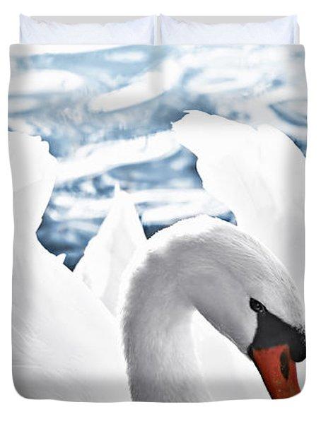 White Swan On Water Duvet Cover by Elena Elisseeva