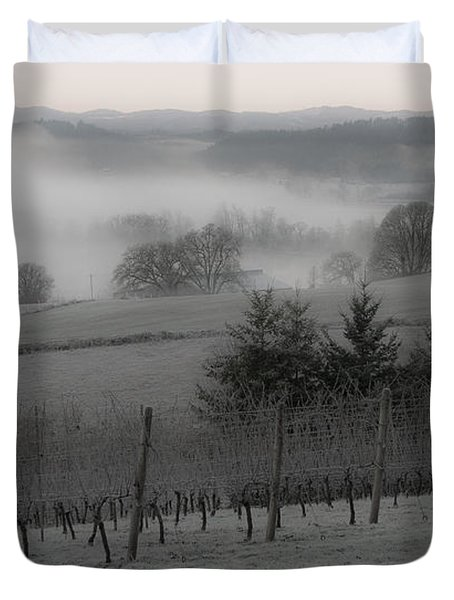 Winter Vineyard Duvet Cover by Jean Noren