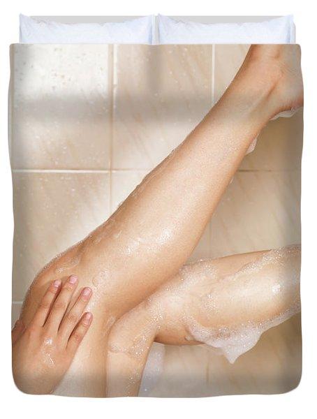 Woman Taking A Bath Duvet Cover by Oleksiy Maksymenko