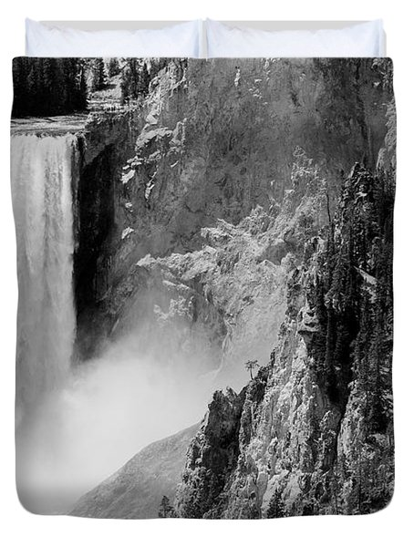 Yellowstone Waterfalls In Black And White Duvet Cover by Sebastian Musial