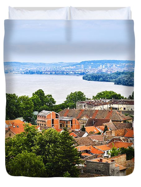Zemun rooftops in Belgrade Duvet Cover by Elena Elisseeva