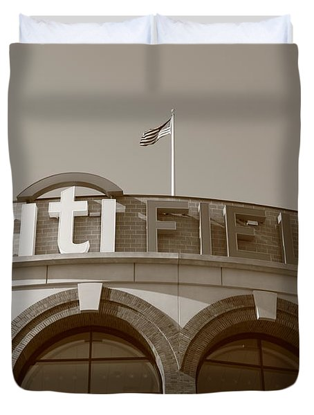 Citi Field - New York Mets Duvet Cover by Frank Romeo