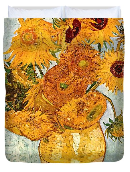 12 Sunflowers In A Vase Duvet Cover by Sumit Mehndiratta