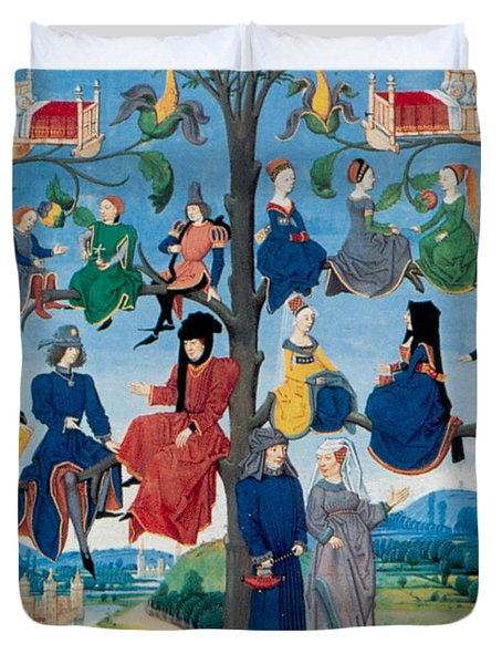 15th-century Family Tree Duvet Cover by Photo Researchers