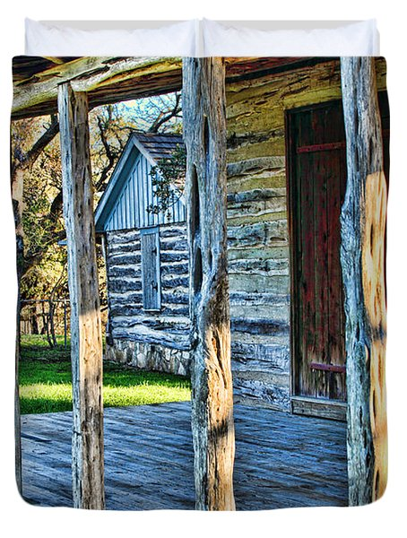 1860 Log Cabin Porch Duvet Cover by Linda Phelps