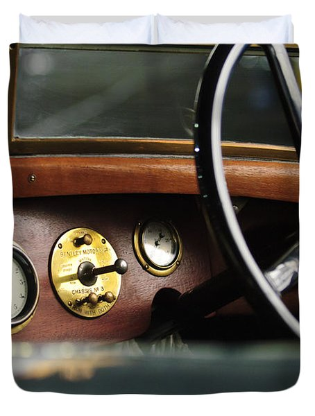 1921 Bentley  Instruments And Steering Wheel Duvet Cover by Jill Reger