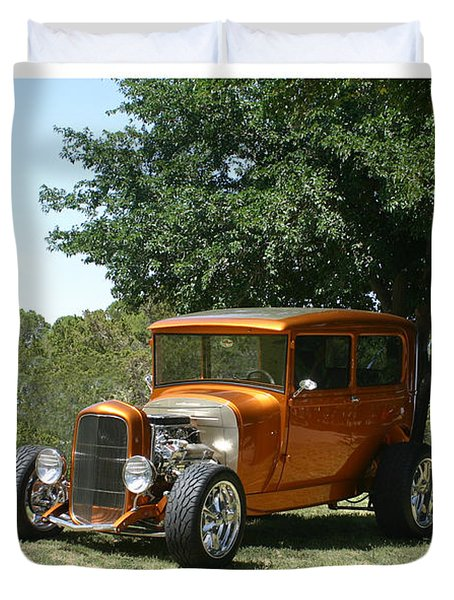 1929 Ford Butter Scorch Orange Duvet Cover by Jack Pumphrey