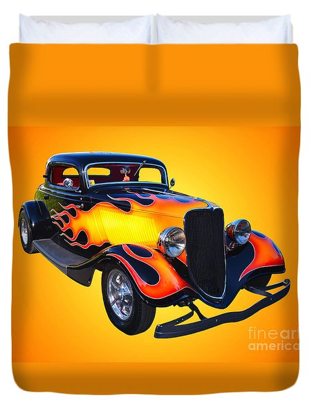1934 Ford 3 Window Coupe Hotrod Duvet Cover by Jim Carrell
