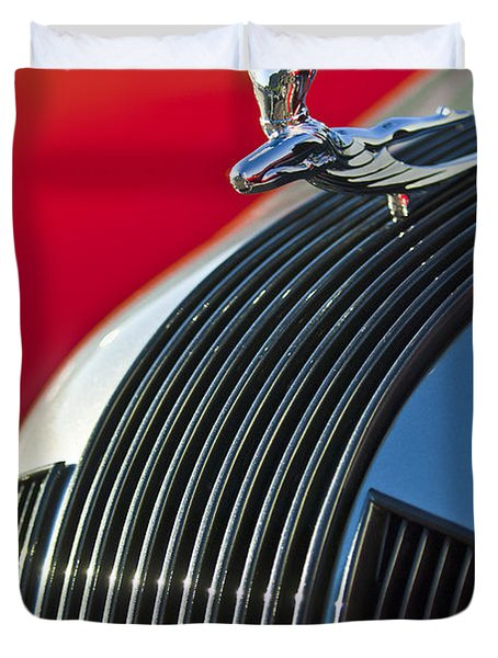 1935 Pontiac Sedan Hood Ornament Duvet Cover by Jill Reger