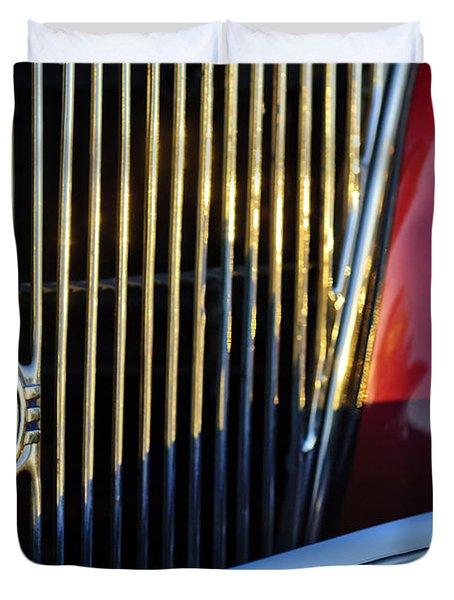 1936 Ford Phaeton V8 Grille Emblem Duvet Cover by Jill Reger