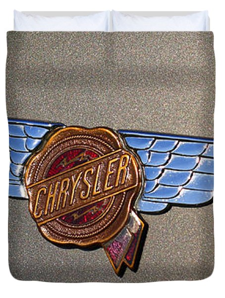 1937 Chrysler Airflow Emblem Duvet Cover by Gordon Dean II