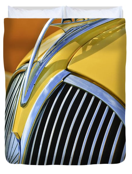 1937 Plymouth Hood Ornament 2 Duvet Cover by Jill Reger
