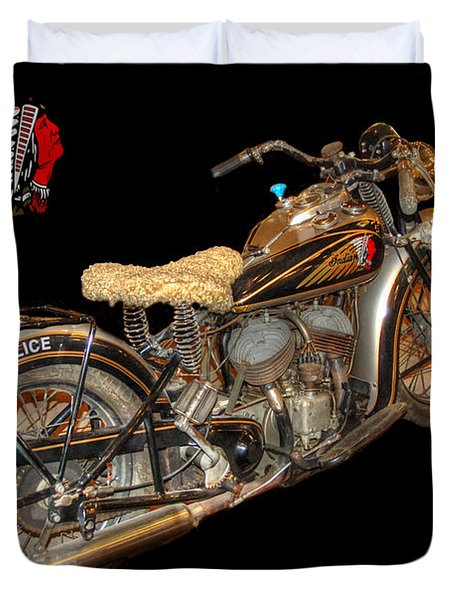 1940 Indian Scout Police Unit Version 3 Duvet Cover by Ken Smith