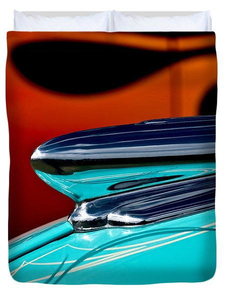 1948 Chevy Hood Ornament Duvet Cover by Douglas Pittman