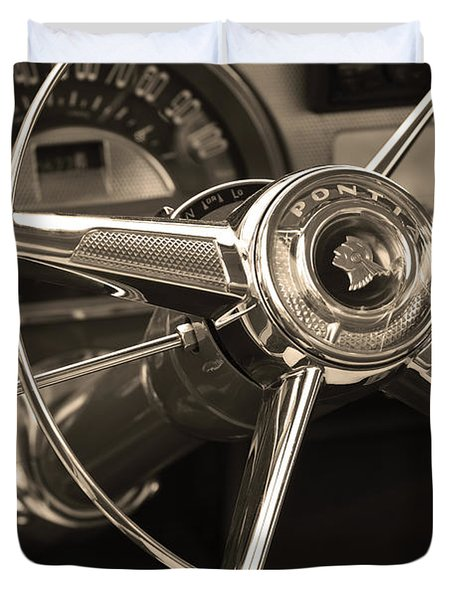 1953 Pontiac Steering Wheel - Sepia Duvet Cover by Jill Reger