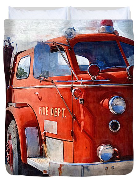 1954 American Lafrance Classic Fire Engine Truck Duvet Cover by Kathy Clark