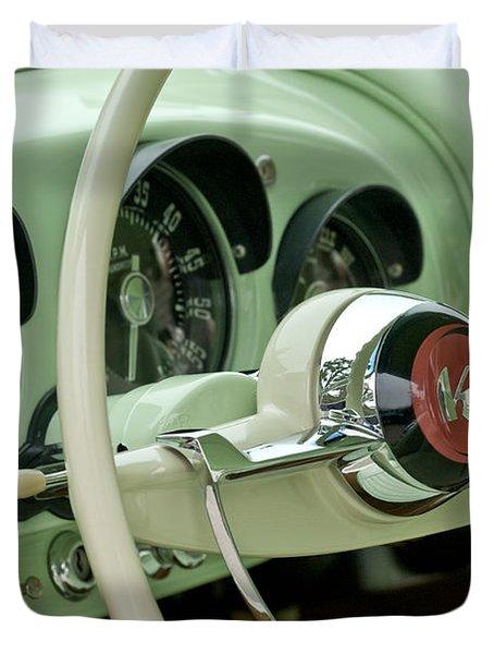 1954 Kaiser Darrin Steering Wheel Duvet Cover by Jill Reger