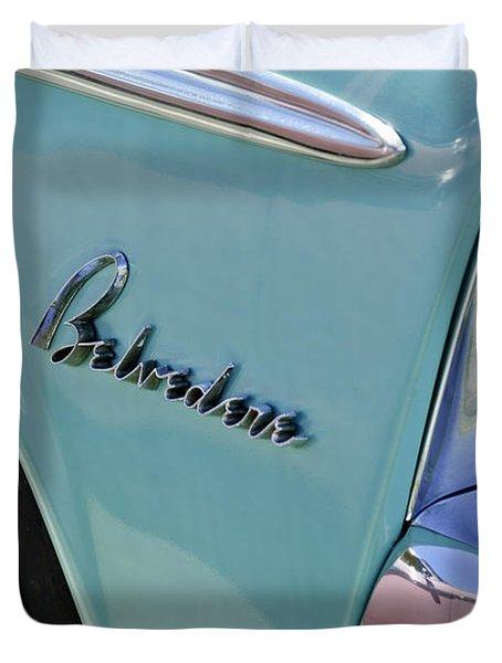 1955 Plymouth Belvedere Emblem Duvet Cover by Jill Reger