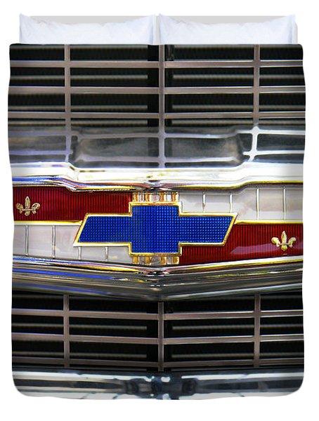1956 Chevrolet Grill Emblem Duvet Cover by Mike McGlothlen