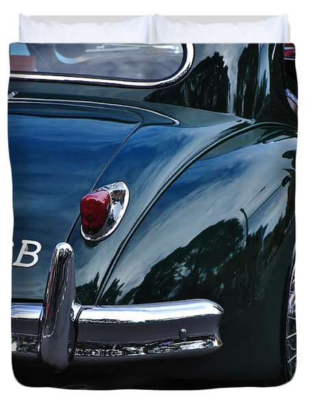 1956 Jaguar Xk 140 - Rear And Emblem Duvet Cover by Kaye Menner