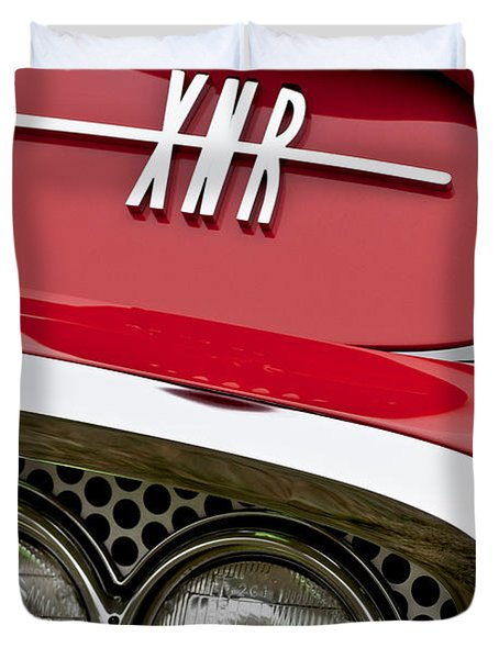 1960 Plymouth XNR Ghia Roadster Grille Emblem Duvet Cover by Jill Reger