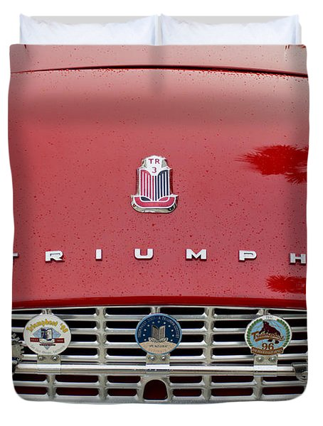 1960 Triumph Tr 3 Grille Emblems Duvet Cover by Jill Reger